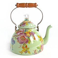 ♥•✿•♥•✿ڿڰۣ•♥•✿•♥ღڿڰۣ✿•♥•✿♥ღڿڰۣ✿•♥✿♥ღڿڰۣ✿•♥  MacKenzie-Childs - Flower Market Enamel 3 Quart Tea Kettle - Green  ♥•✿•♥•✿ڿڰۣ•♥•✿•♥ღڿڰۣ✿•♥•✿♥ღڿڰۣ✿•♥✿♥ღڿڰۣ✿•♥
