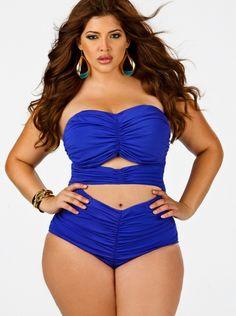"""Fiji"" Sweetheart Ruched Plus Size Swimsuit w/ Removable Strap- Sapphire - Swimwear - Monif C"