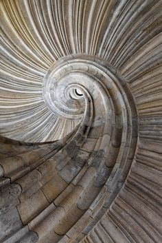 "This spiral staircase called, ""Wendelstein"" is made of sandstone and is an exterior part of Castle Hartenfels in Torgau, Saxony."
