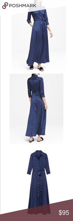 Blue snake print maxi shirtdress New with tags  Never been worn  Size 2 petite Banana Republic Dresses Maxi