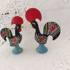 Year of the Rooster - Galo de Barcelos - Folk Art - Portuguese Rooster - cast metal - hand painted - Good Luck Charm - collectible figurines by TheWhatNaught on Etsy