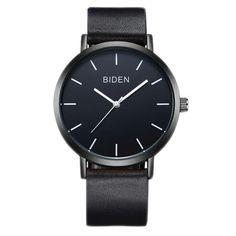ALPS Mens Womens Unisex Waterproof Simple Casual Analog Quartz Black Leather Band Dress Wrist Watch
