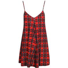 Rhea Red Tartan Checked Swing Playsuit (235.135 VND) ❤ liked on Polyvore featuring jumpsuits, rompers, dresses, red rompers, red romper, plaid romper and playsuit romper