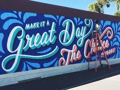 """I donated this x mural to my elementary school, Silver Spur Elementary in Rancho Palos Verdes, California. The colorful artwork depicts the school's motto, """"Make it a great day or not. The choice is yours! Mural Painting, Mural Art, Wall Murals, Lauren Hom, Office Mural, School Murals, Murals Street Art, Colorful Artwork, Small Art"""