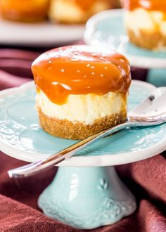 Mini Salted Caramel Cheesecakes - creamy bite-sized cheesecakes with a graham…