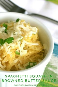 Spaghetti Squash with Browned Butter Sauce and Parmesan Cheese - gluten free and Paleo (omit cheese) that's deliciously good. You'll be licking your plate clean. DontMesswithMama.com