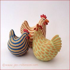 Three hand-modelled hens in stoneware clay, decorated with coloured slips and fired to Candy Coloured Chickens Clay Birds, Ceramic Birds, Ceramic Animals, Clay Animals, Ceramic Rooster, Stoneware Clay, Ceramic Clay, Ceramic Pottery, Ceramic Chicken