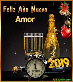 Tarjetas para Año Nuevo 2019 - Tarjetas de Cumpleaños con Nombres Happy New Year Gif, New Year Wishes, New Year 2020, Happy Birthday, Kitchen Appliances, Halloween, Gabi, Liliana, Batman