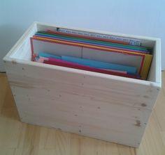 !!! DIY: Holzkiste zur übersichtlichen Aufbewahrung von Farbkarton, Design- und Tonpapier