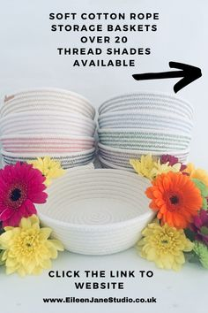 Eco Friendly Cotton Storage Baskets. Grey Cotton Thread. Over 20 Thread Shades available. Click on the Link above or below to collect your Basket with Free Gift Wrapping. Rope Basket, Wire Baskets, Baskets On Wall, Small Storage, Jar Storage, Storage Baskets, Storage Ideas, Pinecone Centerpiece, Bowls