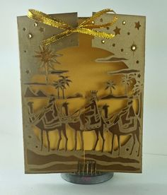 Designed by Lori Williams for @CraftersCompUS  Gate Fold Card  CAC Christmas Die: We Three Kings   Shimmering Cardstock : Gold  Ultimate Tool #crafterscompanion #papercraft #HSNCrafts #christmas #handmade #cardmaking #winter #festive