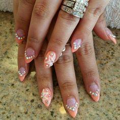 Orange glitter stilleto tips with bling & 3d flowers