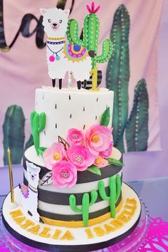 Llama Cactus Cake from a Colorful Birthday Fiesta on Karas Party Ideas 15 Fiesta Cake, Fiesta Party, Birthday Cupcakes, 1st Birthday Parties, Birthday Ideas, Free Birthday, 2nd Birthday Cake Girl, 1st Birthday Foods, Colorful Birthday Cake