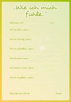 """Kindergarten Portfolio Vorlagen """"Wie ich mich fühle"""""""