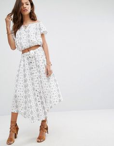 Moon River Printed Skirt Co-Ord - White