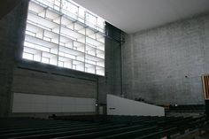 Aarno Ruusuvuori | Tapiola church. The deep concrete grid sifts and softens the light as it filters through to the main space.