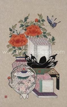 책가도 - Google 검색 Japanese Drawings, Japanese Art, Korean Art, Asian Art, Korean Painting, Chinese Embroidery, Art Template, China Painting, Illustrations And Posters