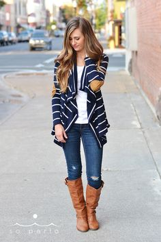 classic striped cardigan with elbow patch from soperla.com