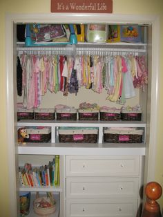 Nursery closet storage shelving for organizer organization ideas small baby dresser o . Baby Dresser Organization, Nursery Closet Organization, Closet Storage, Organization Ideas, Storage Ideas, Baby Storage, Wardrobe Storage, Kids Wardrobe, Closet Racks