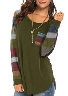 Women's Casual Long Sleeve Round Neck Green Loose Tunic T Shirt With P – Sampeel Tunic Shirt, Tunic Tops, T Shirt, Spring Fashion Casual, Weekend Fashion, Stripes Fashion, Weekend Style, Fashion Colours, Colorful Shirts