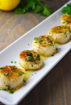 Pan-Seared Scallops with Lemon Butter Recipe #seafoodrecipes