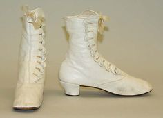 1875 - shoes - American - leather, silk, cotton, wood