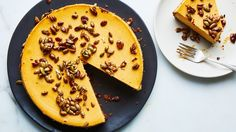 Pumpkin Cheesecake with a gingersnap cookie crust!