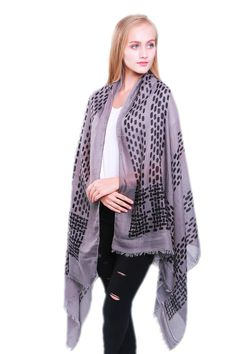 Ladies' Light Grey scarf with black dots and dashes, by Style Slice, features a lightly fringed edge. Elegant spring or summer shawl that can be personalised with a charm or a monogram. Suitable as a gift for anniversary, birthday or any day in which to tell the woman in your life, be it a Mum, Wife, Sister or Girlfriend,that she is special. #scarf #shawl #wrap #scarves #fashion #vintage #handmade #acessories #etsy #gift #etsymntt #headwrap #ootd #neckerchief #bandana #pashmina #shrug…