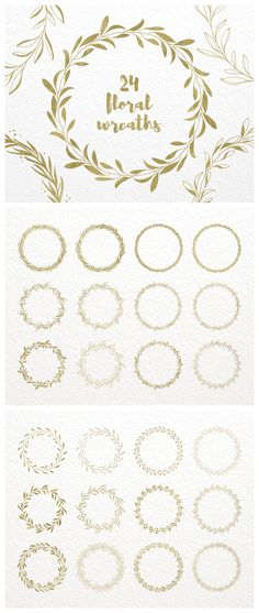 Gold Floral Wreath Clip Art, Hand Drawn Decorative Round Frames: Foliage, Leaves and Branches, Leaf Wreath Clipart; Floral Design Elements #gold #yellowgold #wreaths #laurels #roundframes #designelements #clipart #weddings #weddingdesign #handdrawn #graphics #floral #logodesign #design #graphicdesign #etsy #etsydigital #etsyclipart #shopsmall #botanical