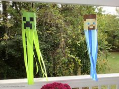 The key to a great Minecraft birthday party is awesome decorations. And making your own couldn't be easier. Take your Minecraft party to a whole new level with these DIY Minecraft party decoration windsocks! Minecraft Pinata, Minecraft Party Decorations, Minecraft Birthday Party, Birthday Diy, Birthday Party Decorations, Birthday Parties, Birthday Ideas, Mine Minecraft, Minecraft Crafts