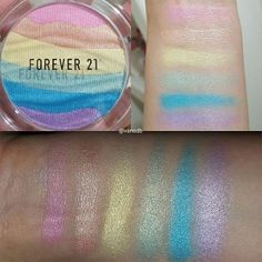 Here are some quick swatchesof the Forever21 rainbow highlighter.Bottom pic is with flash.It is late night over here so couldn't show you a pic with direct sunlight 😍…