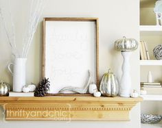Neutral Fall Living Room and Mantel