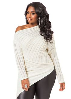 afc90067e4368d Asymmetrical Off The Shoulder Plus Size Sweater valentines day style  #UNIQUE_WOMENS_FASHION Asymmetrical Sweater, Plus