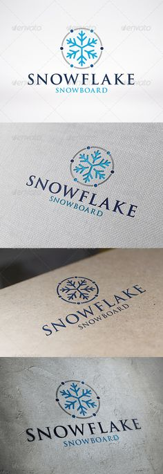 Snowflake Logo Template  #GraphicRiver         - Three color version: color, greyscale and