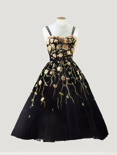 Pierre Balmain black velvet cocktail dress, circa 1953, embroidered by Atelier Lesage with delicate chiffon roses