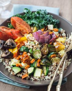 Roasted Vegetable Buddha Bowl Recipe ~ http://steamykitchen.com