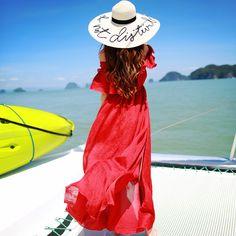 ♡ Bohemian Maxi Summer Open Shoulder Sexy Split Long Beach Dress ♡