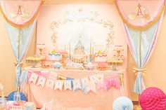 Princess Party Printables by Itsy Belle Sleeping Beauty, GIrl's Birthday, Backdrop, Banner, Party Circles, & more