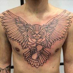 Chest tattoo designs for men - Tattoo Brust - Tatouage Tattoos 3d, Badass Tattoos, Feather Tattoos, Trendy Tattoos, Body Art Tattoos, Sleeve Tattoos, Tattoos For Guys, Cool Tattoos, Owl Tattoo Chest