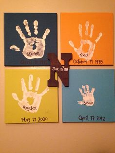 Family handprints on colored canvas, with wedding date on last name initial and quote saying... What a difference a day can make. Traci