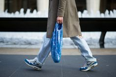 Ashish Sequin Jeans and Bag spotted at NYFW Tomboy Street Style, Nyfw Street Style, Sequin Jeans, Street Outfit, Winter White, Sequins, Normcore, Coat, Outfits