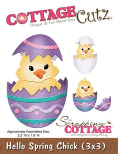 Cottage Cutz - Die - Hello Spring Chick (3x3)
