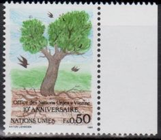 United Nations postage stamp commemorating the 10th Anniversary of the Geneva Offices of the United Nations, 1989.