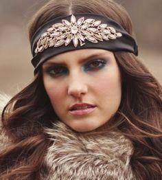 Pink Pewter Authentic Devon Black Stretch Head Wrap Headband Hair Jewelry with Rhinestone Accents  Price : $44.95 http://www.tiffanysdesignerdeals.com/Pink-Pewter-Authentic-Devon-Rhinestone/dp/B00EW1IQ1I