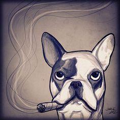 El perro que fuma puros U_U  #Illustration #Dog #Bulldog #Frenchbulldog