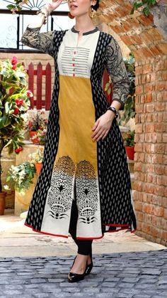 Kurti. #Rayon-cotton #casual Salwar Designs, Kurti Neck Designs, Kurta Designs Women, Blouse Designs, Salwar Neck Patterns, Kalamkari Dresses, New Kurti, Different Dresses, Indian Designer Wear