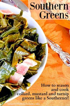 Learn how to season and cook collard, mustard and turnip greens like a true Southerner! Southern Potato Salad, Southern Greens, Southern Style, Mixed Greens Recipe, Collard Greens Recipe, Thanksgiving Sides, Thanksgiving Recipes, Fall Recipes, Easy Recipes For Beginners
