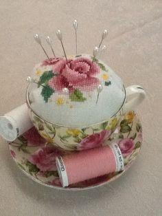 My Cross-Stitch Teacup Pincushion