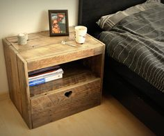 Bed without a pallet nightstand