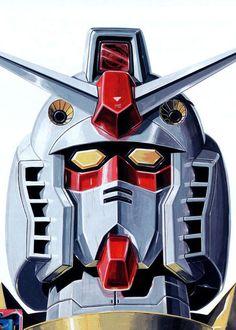 Gundam by Kunio Okawara * Gundam Head, Gundam Art, Vintage Robots, Gundam Wallpapers, Mecha Anime, Super Robot, Old Anime, Gundam Model, Mobile Suit